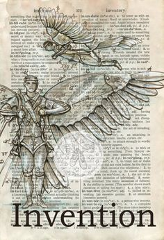 PRINT: Invention Mixed Media Drawing on Distressed por flyingshoes