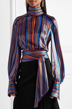 Petar Petrov | Open-back striped silk-satin wrap blouse | NET-A-PORTER.COM