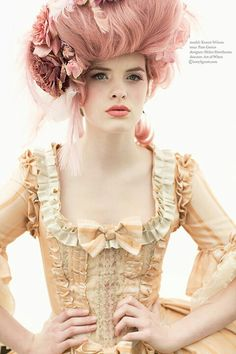 Fresh faced Marie Antoinette editorial.  Dusty pink hair and pink.
