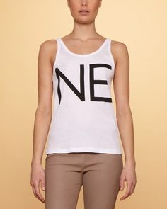 "Acne top with a ""NE"" print, SS12. Ne stands for No in Lithuanian."