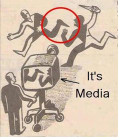Drawing depicting how media can distort the truth