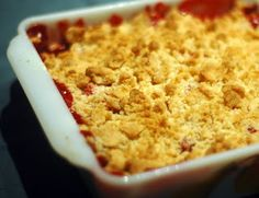 Strawberry Rhubarb Dump Cake (with strawberry jello and water)