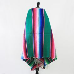 vintage mexican handwoven serape kelly green by VeraLyndon on Etsy
