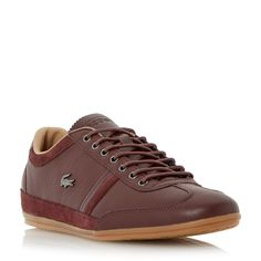 Lacoste Misano Leather Wingtip Detain Trainers, Medium Brown