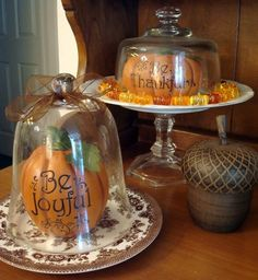 Thanksgiving cloches...removable lettering, allowing you to switch out the seasons