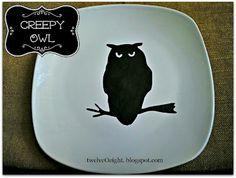 DIY Halloween spooky owl plate