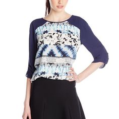❗️CLEARANCE❗️BCBG Back Draped Top Lightweight top flaunts a striking printed front with contrast three-quarter length sleeves.  Round neckline. Draped cutout at back. Round hemline. 100% polyester. BCBGMaxAzria Tops Blouses