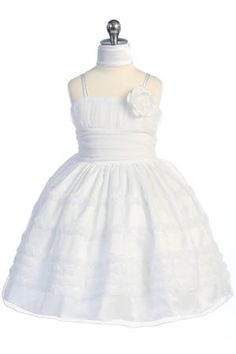White Rosebud Detail Tulle Overlayed Lovely Flower Girl Dress A3489-WH - White Flower Girl Dresses