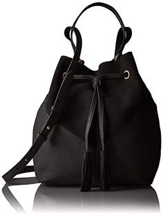 The Fix Mckenzie Suede and Leather Bucket Crossbody Bag, Black