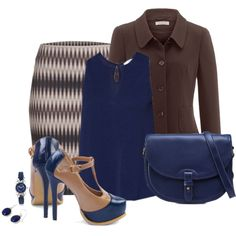 Office outfit: Navy - Brown