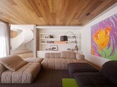 wooden ceiling and contemporary living room furniture