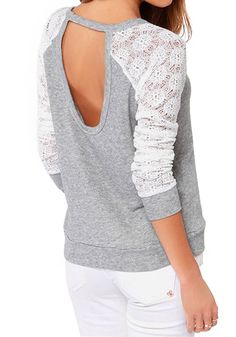 Light Grey and White Lace Knit T-Shirt
