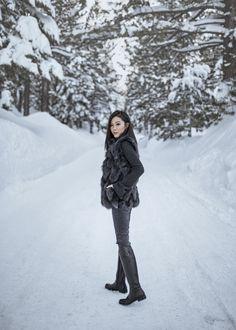 Frosty Land – http://tsangtastic.com | Instagram @tsangtasic   Travel, Mammoth Lakes, Grey Fur Vest, Winter Wonderland, Snow Style, Winter Style