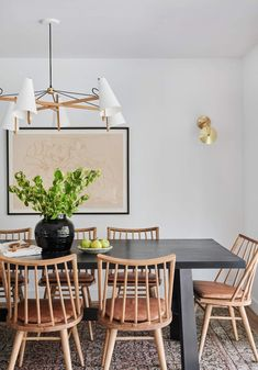 Home Interior Living Room .Home Interior Living Room Vintage Dining Chairs, Black Dining Room Table, Dining Room Art, Leather Dining Chairs, Dining Room Chairs, Dining Area, Cheap Dorm Decor, Amber Interiors, Banquettes