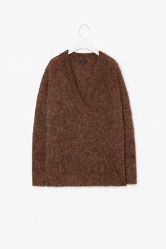 Wool mohair v-neck jumper