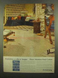 1965 Armstrong Montina Vinyl Corlon Floor Ad - Tangier-This is a 1965 ad for a Armstrong Montina Vinyl Corlon Floor! The size of the ad is approximate 1960s Interior Design, Tangier, Vintage Ads, Looks Great, Villa, Flooring, Dreams, Building, House