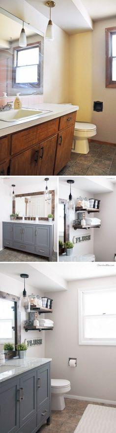 2 Gorgeous Industrial Farmhouse Bathroom Makeover