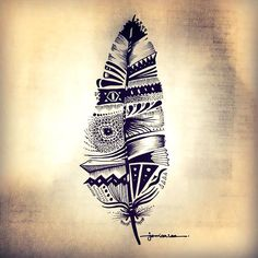Cool Black Feather Tattoo Design