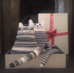 Breton Striped Nautical Cat Doll - Soft Toy Cat Plushie - Soft Sculpture - Gift for Cat Lover - Soft Toy - Seaside decor - Beach Hut Décor