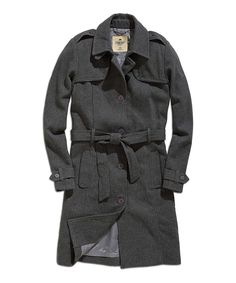 Dark Gray Mélange Wool-Blend Trench Coat | zulily