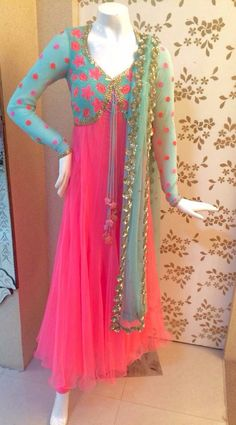 New Wedding Party Outfits Colour Ideas Anarkali Dress, Pakistani Dresses, Indian Dresses, Indian Outfits, Lehenga, Anarkali Suits, Long Anarkali, Salwar Designs, Blouse Designs