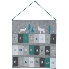 Large Hanging Fabric Christmas Advent Calendar - I would make it red, white, green, and silver. Use Nativity instead of reindeer.