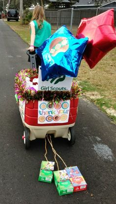 great for a parade.  dragging cookie boxes behind wagon.