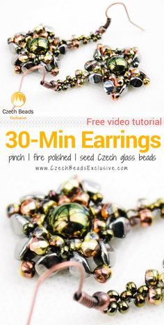 Pinch and Seed Czech Glass Beads - 30-Minute DIY EARRINGS Pattern Free Video Tutorial |  SAVE it!| www.CzechBeadsExclusive.com #czechbeadsexcluisve #czechbeads