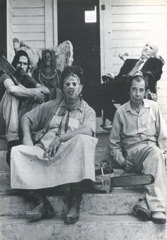 On the set of Tobe Hooper's Texas Chainsaw Massacre, 1974.