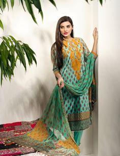 Khaadi Green Pakistani Cotton Lawn Suit With Chiffon  Dupatta F15527A