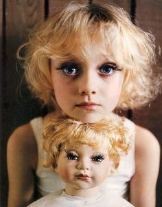 No child should be forced to wear makeup and fake eyelashes to match a doll. CREEPY!