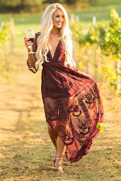 Lovely In London Lace Maxi Dress in Merlot Cute Dresses, Casual Dresses, Beautiful Dresses, Lace Maxi Romper, Yeezy Fashion, Boho Fashion, Fashion Outfits, Event Dresses, Retro Dress