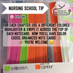 Nursing school flashcard notecard organization tip. Shoot ALL school Flashcards tip this is pretty awesome 😎 College Nursing, Nursing School Notes, Nursing Career, Nursing Tips, Nursing Schools, Nursing Programs, Nursing Major, Nursing Degree, Boston College
