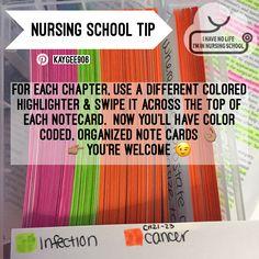 Nursing school flashcard notecard organization tip