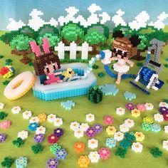 Summer scene perler beads by Shimizu Shunho