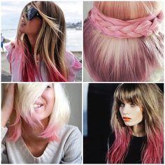 Una de las últimas tendencias para el cabello, puntas rosas que puedes conseguir en Azabache Estilistas.