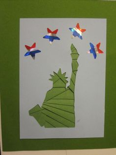 Statue of Liberty Iris Paper Folding Card www.caguimbalcreations.weebly.com.  Change color of statute.