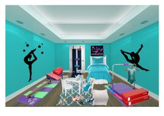 Audrey's Gymnastics Room by aunaleis on Polyvore featuring interior, interiors, interior design, home, home decor, interior decorating, Royal Albert, Room Essentials, PERIGOT and Disney