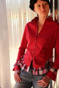 For some of my too short shirts. Red Shirt with ruffles around curved hem
