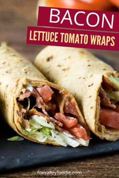 Bacon Lettuce Wrap are a great lunch or dinner to whip up. Salty bacon, sliced tomatoes, lettuce and a secret sauce that transforms these wraps. #bacon #lettuce #wrap #lunch #dinner #easy #best #quick #affordable Wrap Recipes, Lunch Recipes, Pasta Recipes, Cooking Recipes, Pork Recipes, Recipies, Healthy Recipes, Sandwich Recipes, Smoothie Recipes