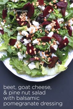 Beet Goat Cheese and Pine Nut Salad with Balsamic Pomegranate Dressing Health Nut Salad, Paleo Recipes, Whole Food Recipes, Beet Goat Cheese Salad, Best Fruit Salad, Healthy Snacks, Healthy Eating, Clean Eating Recipes, Soup And Salad