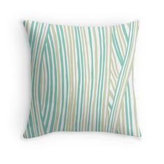 """Funky stripes, white and green"" Throw Pillows by ptitsa-tsatsa 