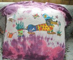 Dachshund In The Garden Wiener Dog Purple Pink by SassySashadoxie
