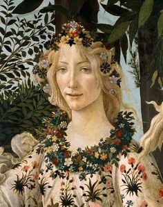 Fora, the goddess of flowers and the season of spring. Primavera (detail) by Sandro Botticelli, 1478. Galleria degli Uffizi, Florence, Italy.