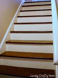 Staircase Ideas: Staircase Risers Painted In Different Shades Of Blue And  Rope Handrail. Description · Paint StairsBasement ...