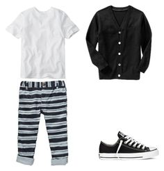"""""""Striped Pants"""" by boyswardrobe ❤ liked on Polyvore featuring Old Navy and Converse"""