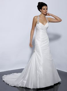 Modern halter natural waist taffeta wedding dress $238