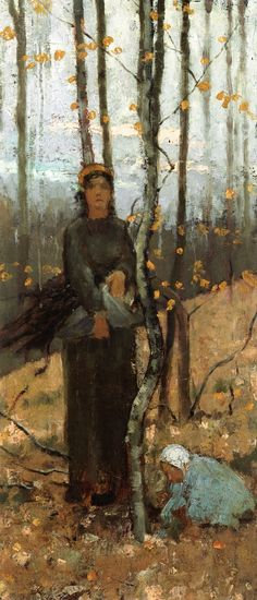 Woman and Child in a Wooded Landscape  Theodore Robinson -