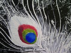 ORIGINAL CANVAS ART12x12White Peacock by LiveSky on Etsy