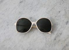 oversized white sunglasses / 1970s sunglasses / white round sunglasses